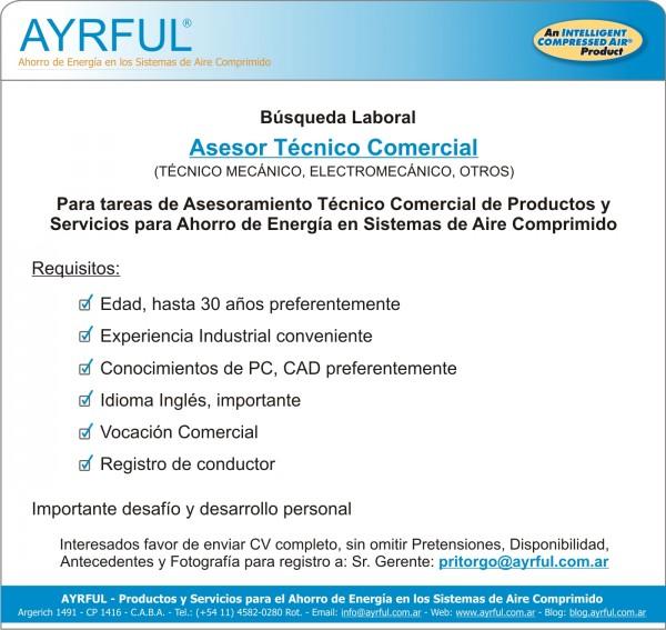 AYRFUL - Búsqueda Laboral - Asesor Técnico Comercial